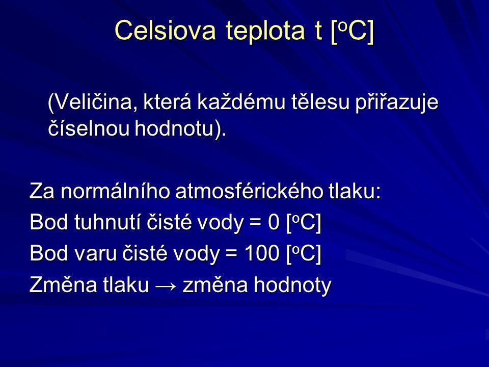 Celsiova teplota t [oC]